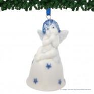 Kerstengel op Kerstbel D - Delfts Blauwe Kersthanger