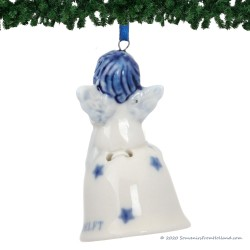 Christmas Angel on Bell D - Delft Blue X-mas Ornament