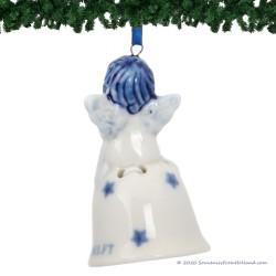 Christmas Angel on Bell D - Delft Blue X-mas Ornament
