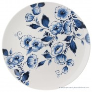Delft Blue Wall Plate Flowers - 25cm