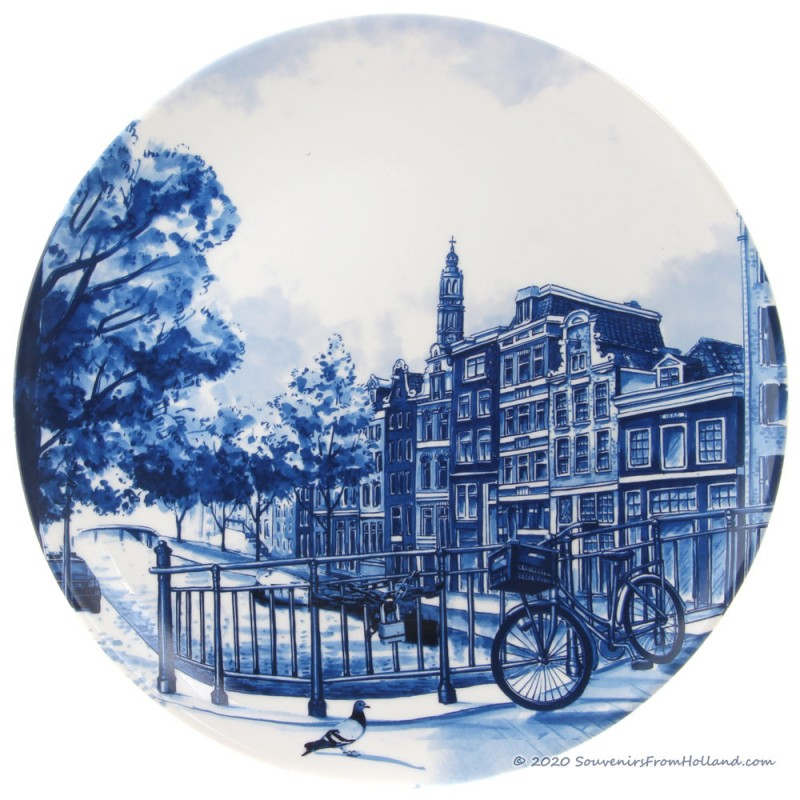 Delft Blue Wall Plate Amsterdam Canalhouses - 25cm