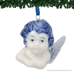 Engel Hoofdje A - Kersthanger Delfts Blauw
