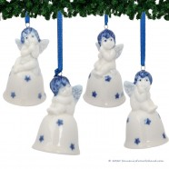 Set of 4 Christmas Angel on Bell - Delft Blue X-mas Ornament