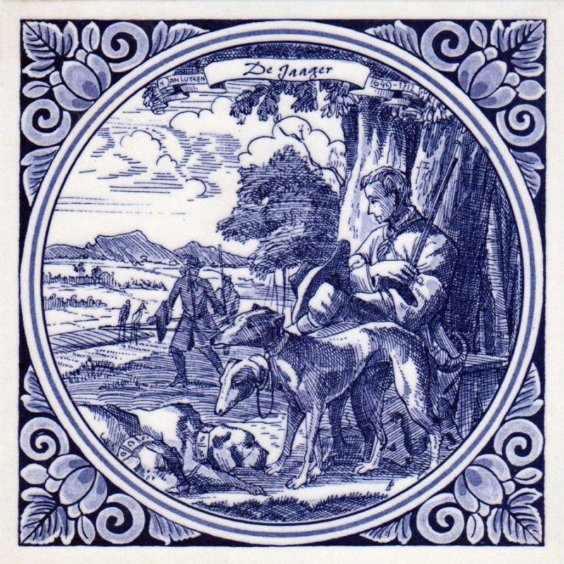 The Hunter Sportsman - Jan Luyken professions tile - Delft Blue