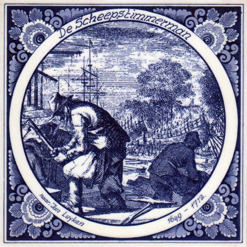 The Ship's Carpenter Shipwright - Jan Luyken professions tile - Delft Blue
