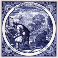 De Scheepstimmerman - beroepentegel Jan Luyken - Delfts Blauw