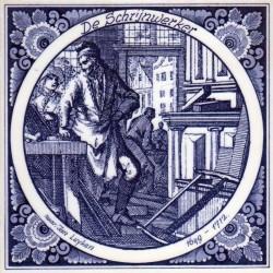 The joiner cabinet-maker - Jan Luyken professions tile - Delft Blue