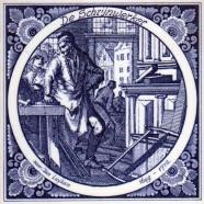De Schrijnwerker - Jan Luyken professions tile - Delft Blue