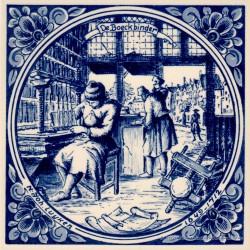 The Bookbinder - Jan Luyken professions tile - Delft Blue