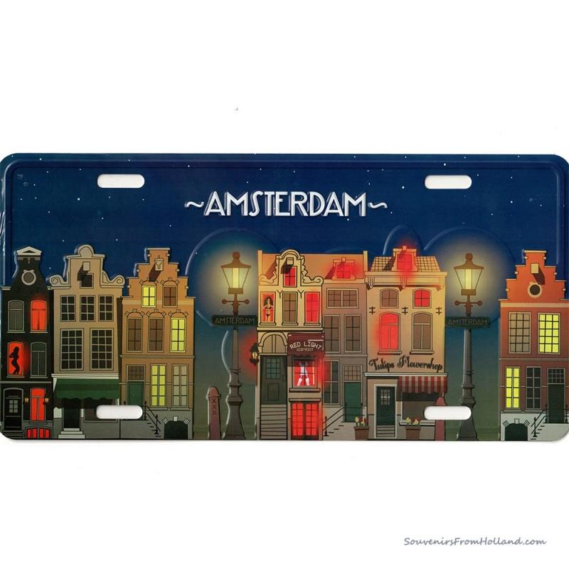 Amsterdam Grachtenhuisjes bij Nacht kentekenplaat