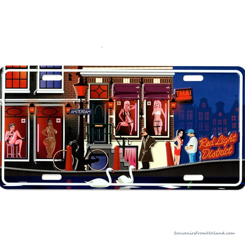 Red Light District Amsterdam grachten kentekenplaat