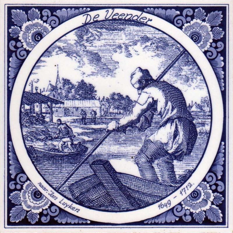 The Peat Cutter - Jan Luyken professions tile - Delft Blue