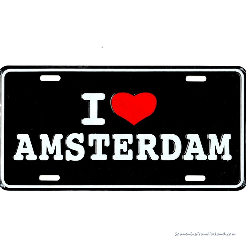 I love Amsterdam zwarte kentekenplaat