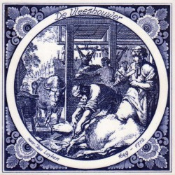 The Butcher - Jan Luyken professions tile - Delft Blue