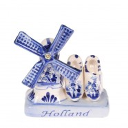 Delft Blue Ceramic Windmill & Clogs - Delftware - Ceramic