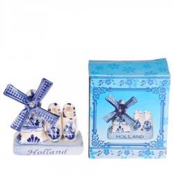 Kleine Windmolen met klompen - Delfts Blauw - Keramiek