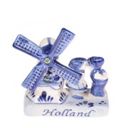 Delft Blue Ceramic Windmill & Kissing Couple - Delftware - Ceramic