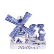 Delfts Blauw Keramiek Windmolen & Kussend Paar - Delfts Blauw - Keramiek