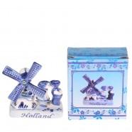 Delft Blue Ceramic Windmill & Kissing Couple - Delftware - Ceramic