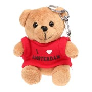 Textile Bear Red T-shirt - I love Amsterdam - Keychain