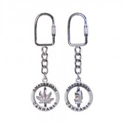 Canabis Leaf Rotating - Metal - Keychain