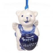 Kerstfiguren hangend Beer Merry Christmas - Kersthanger Delfts Blauw