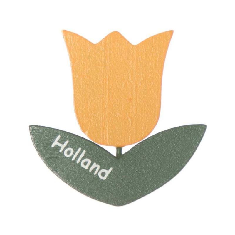 Tulips Tulip Yellow - Magnet Wood