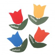 Tulp Geel - Magneet Hout
