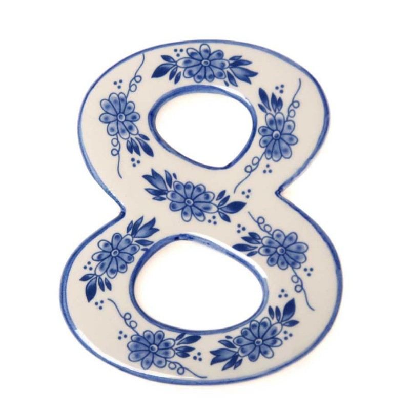 Housenumber 8 - Delft Blue