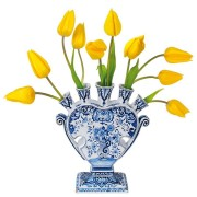 Flat Flowers - Originals Raamstickers Delfts Blauwe Tulpenvaas - Tulp Geel