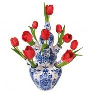 Flat Flower - Rode Tulpen in Delfts Blauwe Tulpenvaas