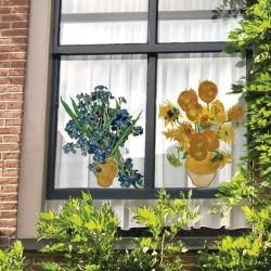 Flat Flower Raamsticker - Van Gogh - Irises