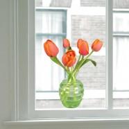 Flat Flower Raamsticker - Oranje Tulp