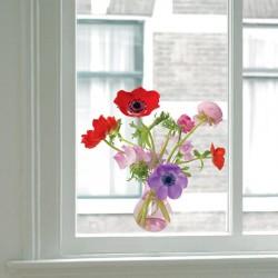 Flat Flower Raamsticker - Paarse Anemone