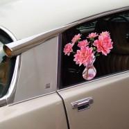 Flat Flower Raamsticker - Roze Dahlia