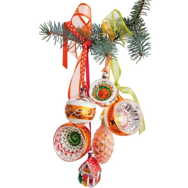 Window Sticker - Christmas Gold-Orange Ornaments