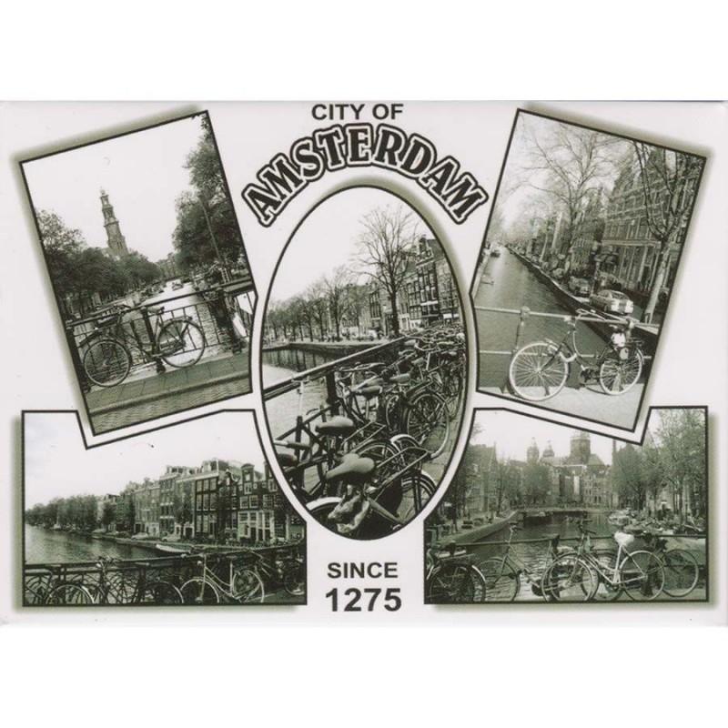 Zwart en Wit Amsterdam - Platte Magneet
