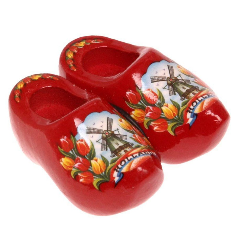 Clogs - Wooden Shoes Red Tulips - Wooden Shoes - Magnet