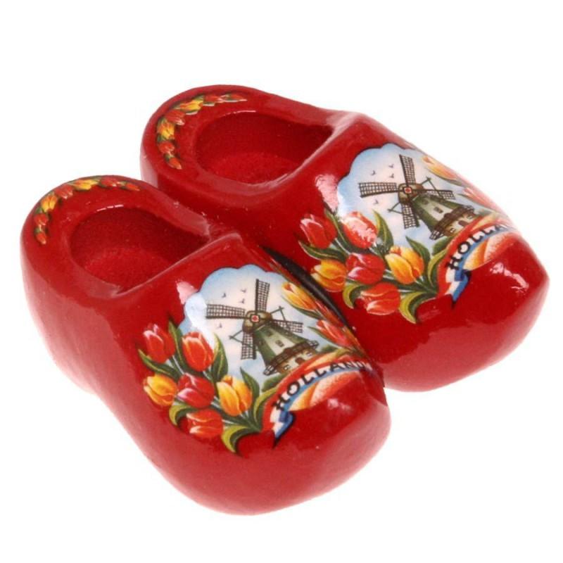 Klompen Rood Tulpen - Klompenpaar - Magneet