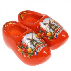 Clogs - Wooden Shoes Orange Tulips - Wooden Shoes - Magnet