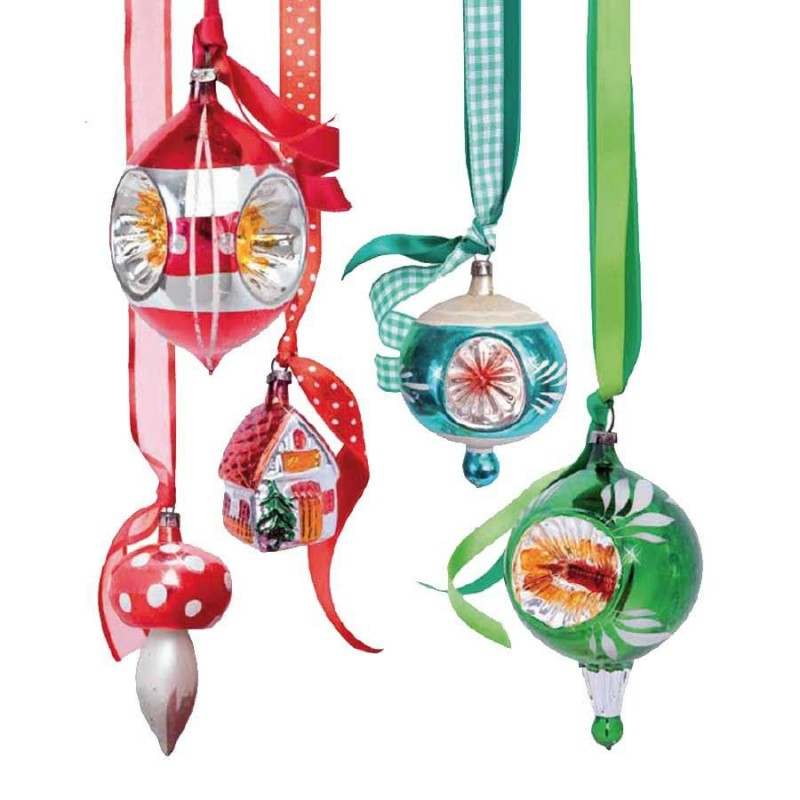 Window Sticker Christmas - Mix Red Green Ornaments