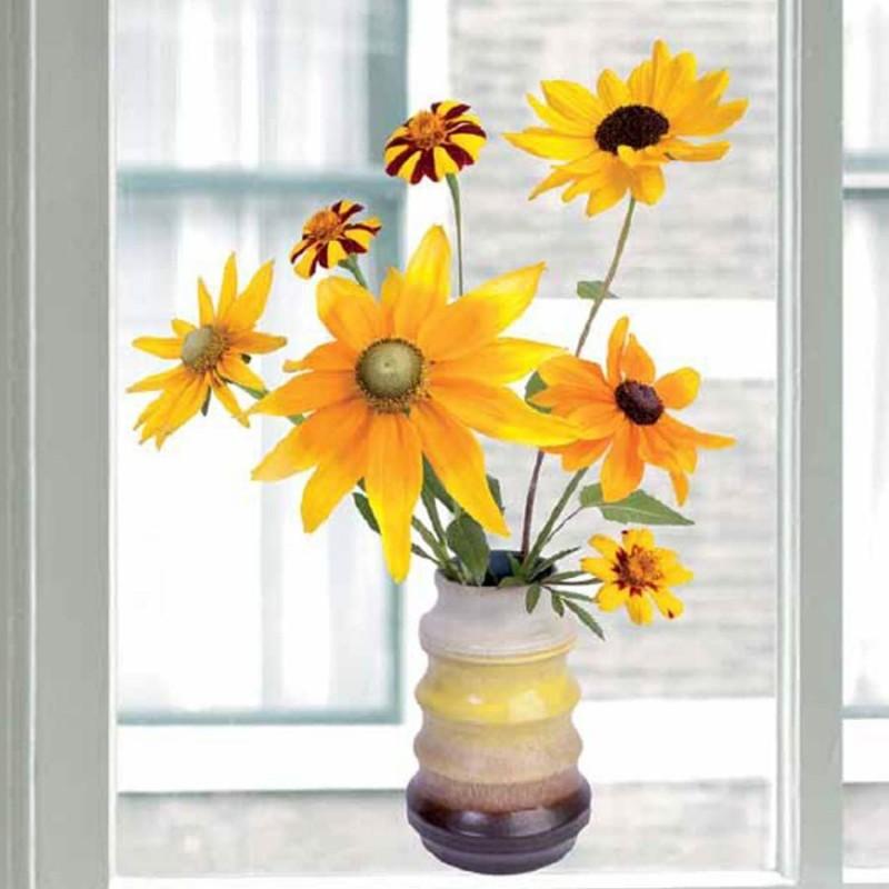 Flat Flower Raamsticker - Zonnebloem