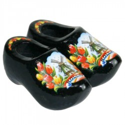 Black Tulips - Wooden Shoes - Magnet