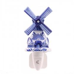 Night Light - Wall Light Windmill - Delft Blue - Night Light