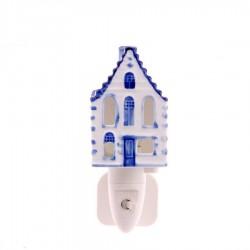 Nachtlampje - Wandlampje Grachtenhuis - Delfts Blauw - Nachtlampje