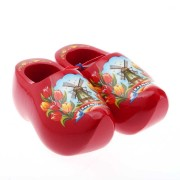 Decoration Red Tulip - 14 cm Wooden Shoes