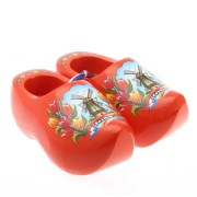 Decoration Orange Tulip - 14 cm Wooden Shoes