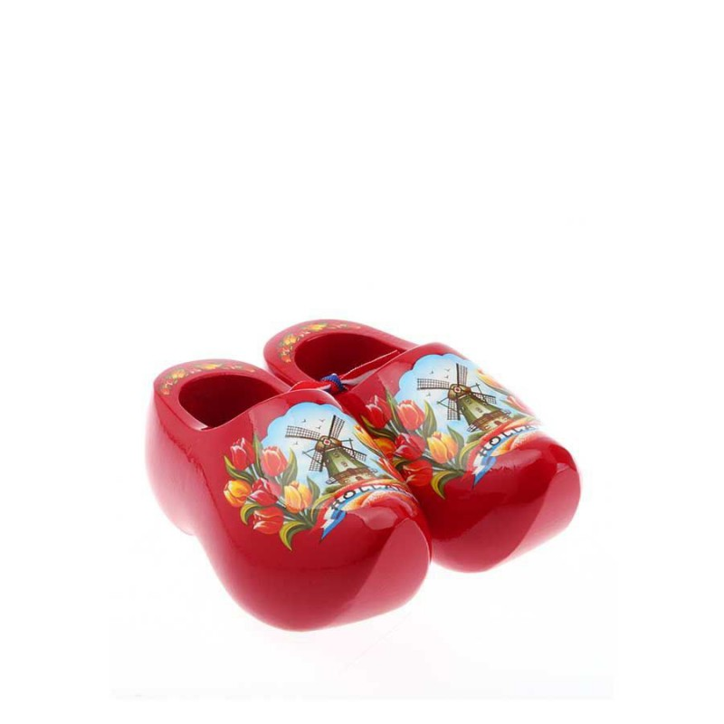 Decoration Red Tulip - 8 cm Wooden Shoes