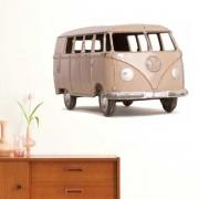 Muurstickers - Wanted Wheels - Flat Flowers Volkswagen Minibus - Muursticker