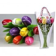 Gemengde Kleuren - Boeket Houten Tulpen